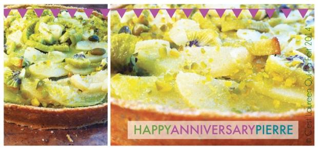 anniversaire, tarte aux poires et kiwi et pistaches, dessert